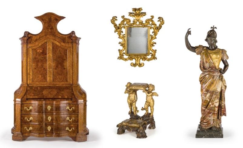 Links: Schrank aus Walnussholz und Walnusswurzel mit vergoldeten Bronzebeschlägen, 18. Jh. Schätzpreis: 8.000-12.000 EUR Mitte oben: Spiegel mit vergoldetem Holzrahmen, 18. Jh. Schätzpreis: 2.000-3.000 EUR Mitte unten: Vergoldeter Betstuhl mit geflügelten Cherubim, 17./18. Jh. Schätzpreis: 2.000-3.000 EUR Rechts: Skulptur aus verschiedenfarbigem Marmor, Gold und Silber, 19. Jh. Schätzpreis: 10.000-15.000 EUR