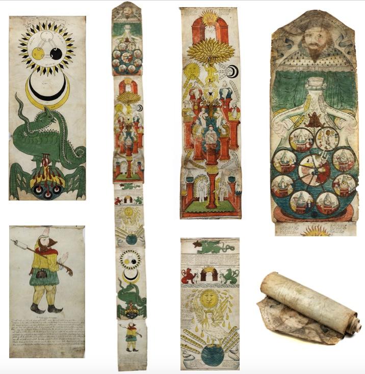 Bedeutendes illustriertes alchemistisches Manuskript, Pergamentrolle mit aquarellierten Emblemen, ca. 276 x 33 cm, England 1624 Schätzpreis: 200.000-400.000 EUR