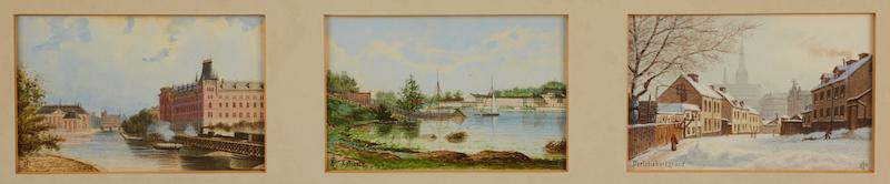 """OHAN FREDRIK ISBERG (1846-1904): (3) Riddarhuset-Norstedts förlag, """"Karlberg"""", """"Perlstickaregränd"""", monogramsignerade, samramade akvareller, ca 10x16 cm vardera;"""