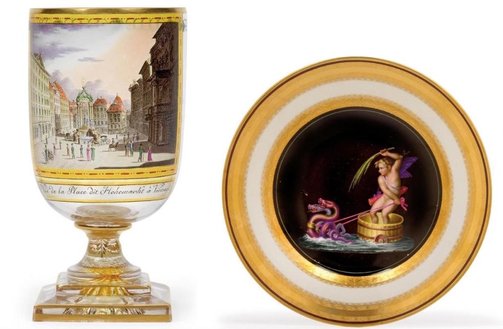 ANTON KOTHGASSER (1769 Wien 1851) Links: Pokal mit Ansicht des Hohemarkt, Glas, Wien um 1815 Rechts: Bildteller, Porzellan, Wien, Kaiserliche Manufaktur, 1798