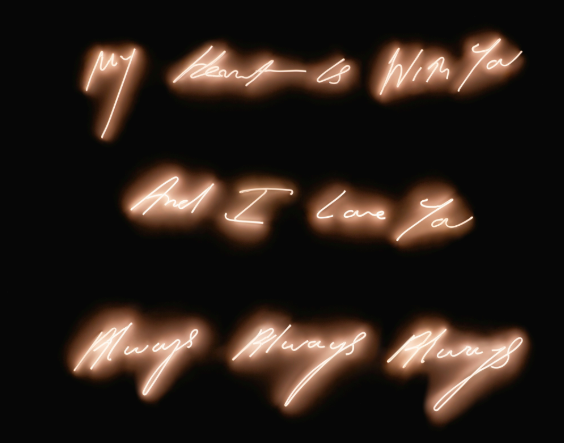 Tracey Emin, « MY HEART IS WITH YOU AND I LOVE YOU ALWAYS ALWAYS ALWAYS », 2006, image ©Sotheby's