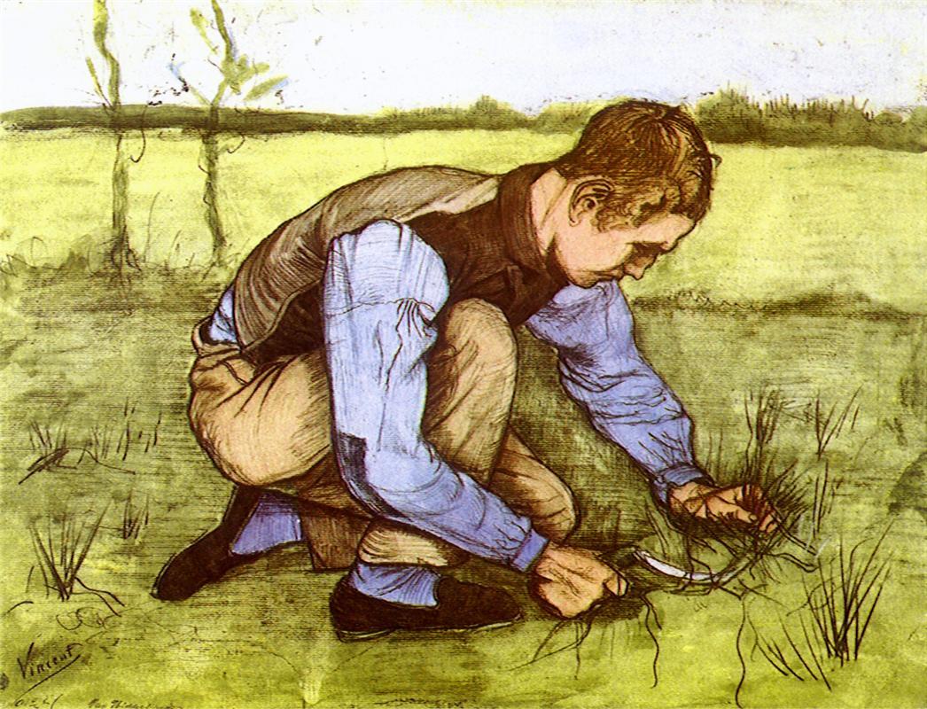 Vincent van Gogh, Garçon coupant l'herbe avec une faucille, 1881, image via Wikipedia