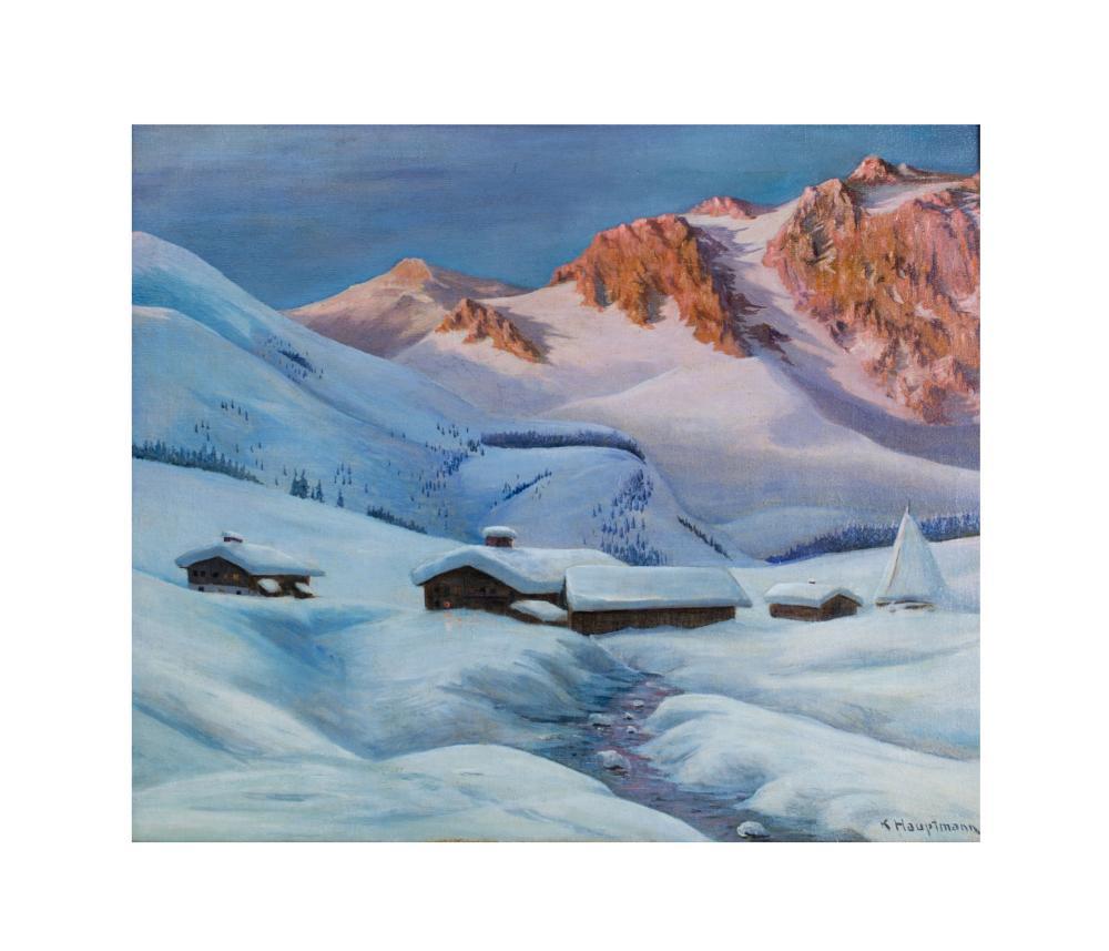 KARL HAUPTMANN (1880 Freiburg - 1947 Todtnau) - Winterliche Berglandschaft, Öl/Lwd., signiert