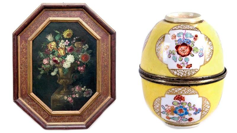 Links: Blumenstillleben eines unbekannten Malers des 17./18. Jhs., Öl/Lwd. Rechts: MEISSEN - Aufklappbares Ei aus Koppchen der Marolini-Zeit