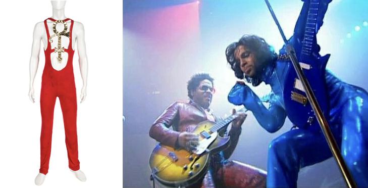 Gauche : Lot Combinaison rouge, ©Julien's Auctions, droite : Prince et Lenny Kravitz sur scène, image via Pinterest