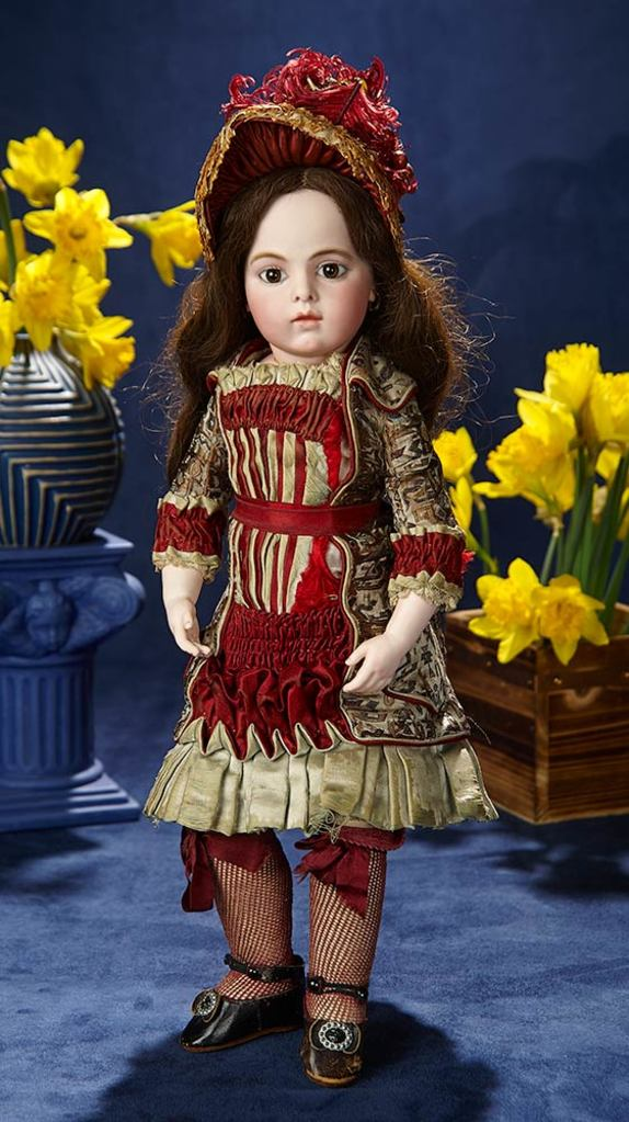 French Bisque Bebe by Leon Casimir Bru in Original Costume and Signed Bru Shoes