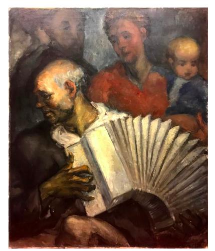 The Accordionist, Leonard Benatov. 1930, oil on canvas. Image: Tessier