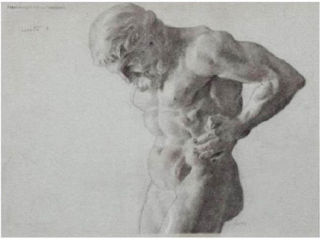 Lote 113: Juan Luna y Novicio. Hércules. Dibujo. 28 x 38 cm. Precio salida: 2.500 €.