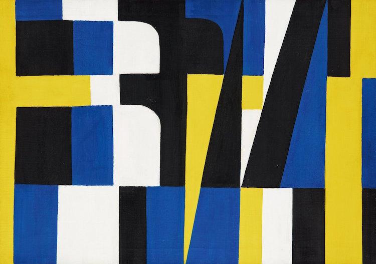 """Snudd på miljonen. Det svenska konkreta måleriet når allt högre priser. Lennart Rodhes """"Kontraster II"""" """" från 1954 såldes för 988 600 kronor inklusive provision hos Bukowskis"""