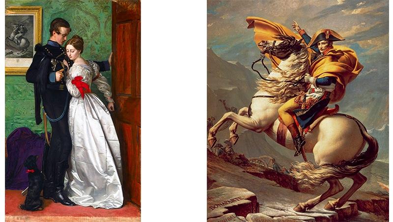 Links: John Everett Millais, The Black Brunswicker, 1860 Rechts: Jacques-Louis David, Bonaparte beim Überschreiten der Alpen am Großen Sankt Bernhard, 1800 | Beide Abb. via Wikipedia