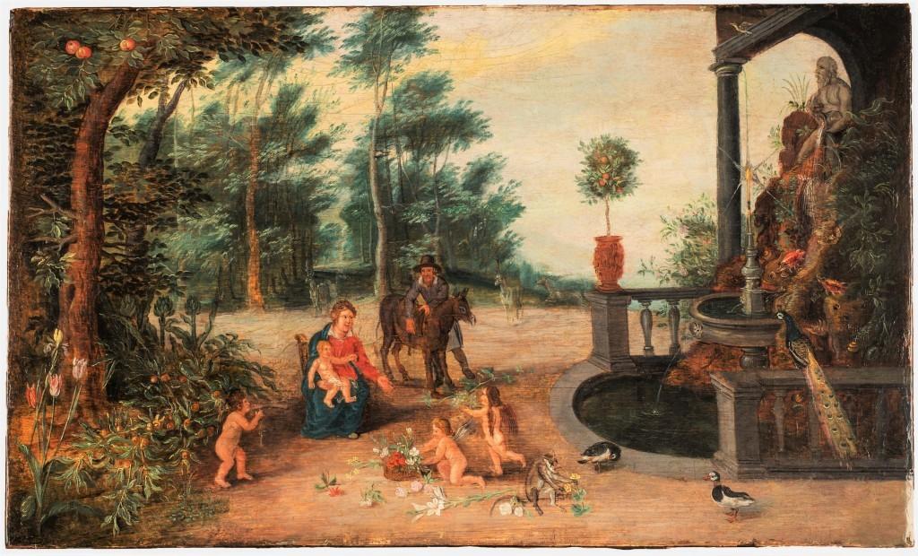 Jan Brueghel den yngre, 'Rest on the Run in a Park Landscape', c. 1640