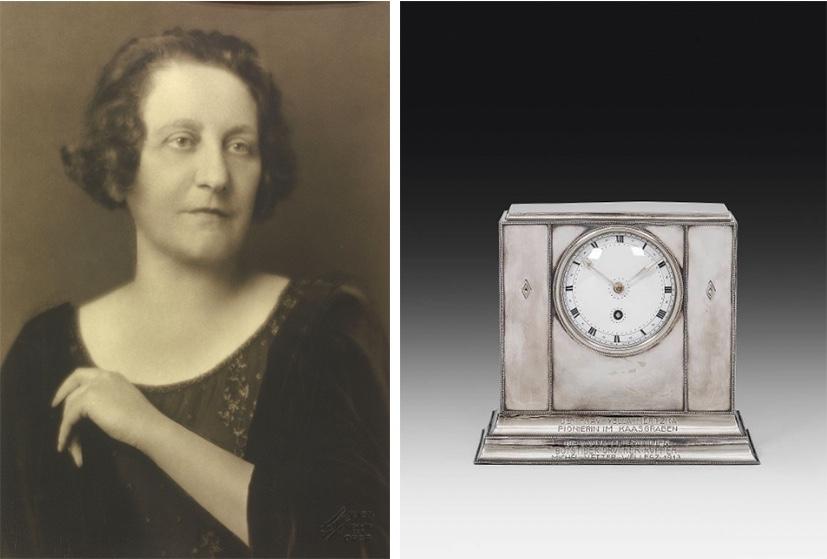 Links: Yella Hertzka 1927 | Foto via Wikipedia Rechts: JOSEF HOFFMANN (Pirnitz 1870 - 1956 Wien) - Kaminuhr für Yella Hertzka, Wiener Werkstätte, 1912