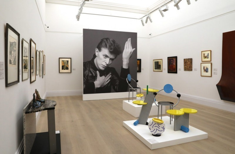 View of the 'Bowie / Collector' exhibition that preceded the auction of the Bowie Collection at Sotheby's in 2016. The image shows some of the most iconic pieces produced by the Memphis collective, including the 'First' chair by Michele De Lucchi. Photo: Sotheby's