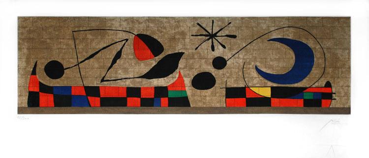 JOAN MIRÓ - La Luna (1958). Wanddekoration aus Keramikplatten für den Hauptsitz der UNESCO in Paris