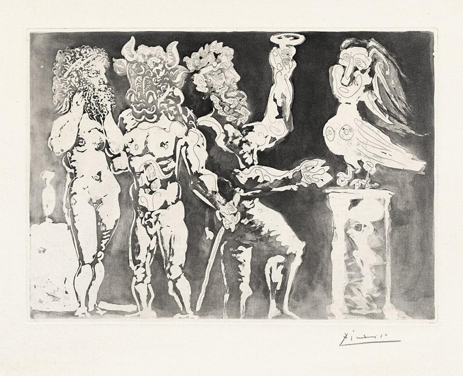 Picasso, Pablo Chez la pythie-harpye. Homme au masque de minot.... Schätzpreis: 7 500 EUR. Bassenge