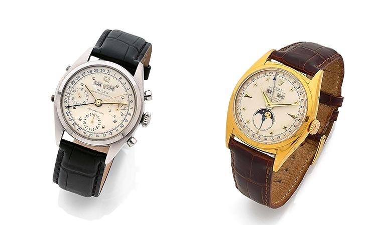 "Links: ROLEX Dato-Compax Chronograph ""Jean-Claude Killy"", Ref. 6036, um 1953 Rechts: ROLEX Super Oyster ""Star Dial"", Ref. 6062, um 1953"