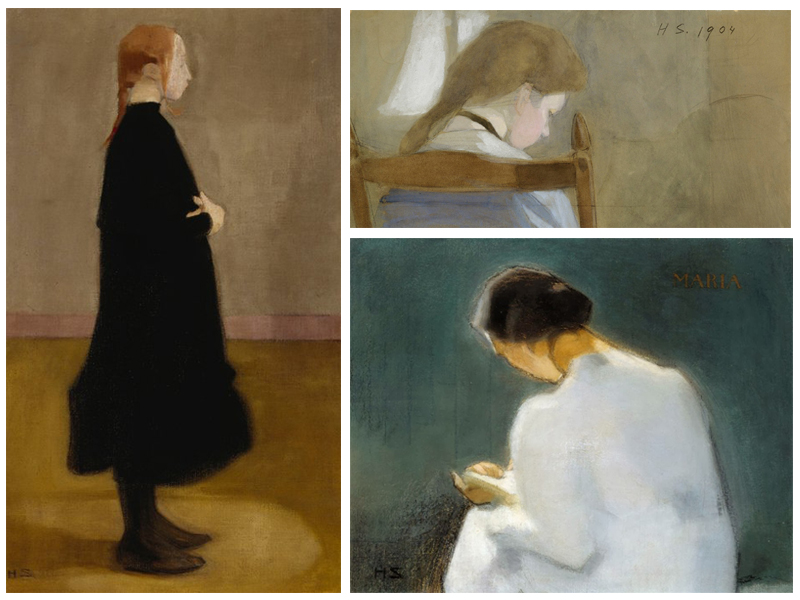 Skolflicka II från 1908, Girl Reading (Seated Girl) från 1904 och Maria från 1906. Bilder: Europeana, WikiArt