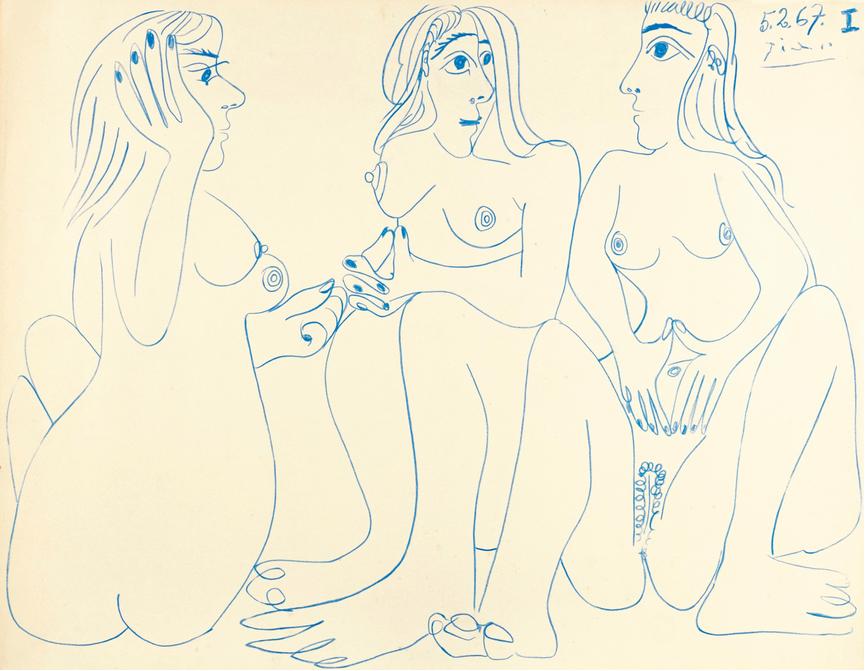PABLO PICASSO - Trois nus assis, signiert und datiert 5.2.67|Abb: Sotheby's