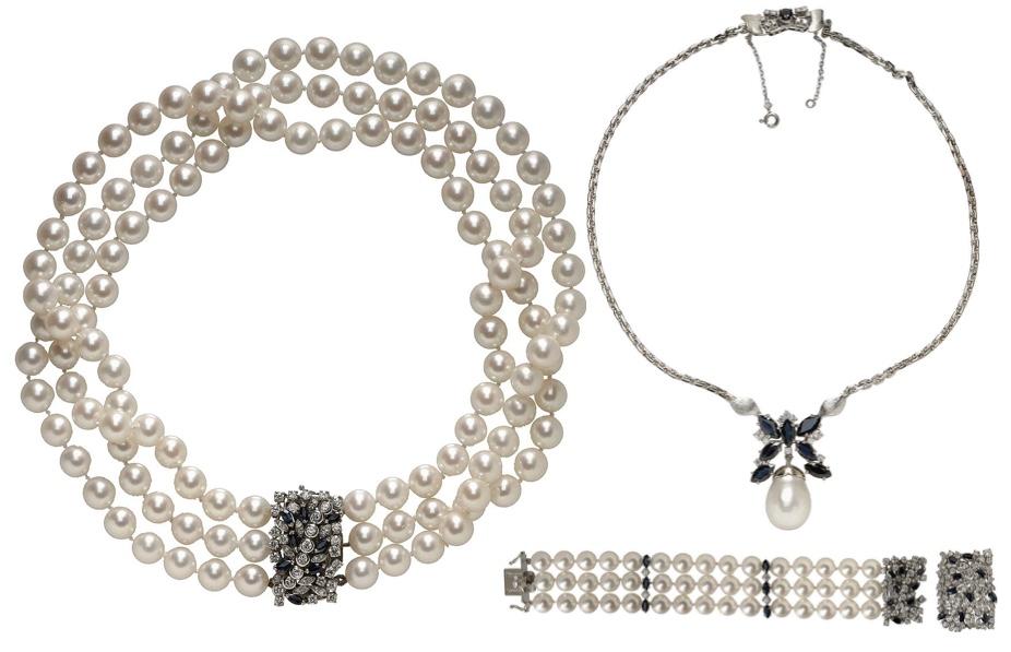 Schmuckensemble (2 Colliers und 1 Armband) aus Weißgold mit Perlen, Saphiren und Brillanten Ausruf: 11.000 EUR