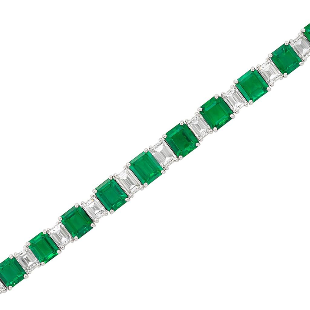 Diamond-emerald bracelet