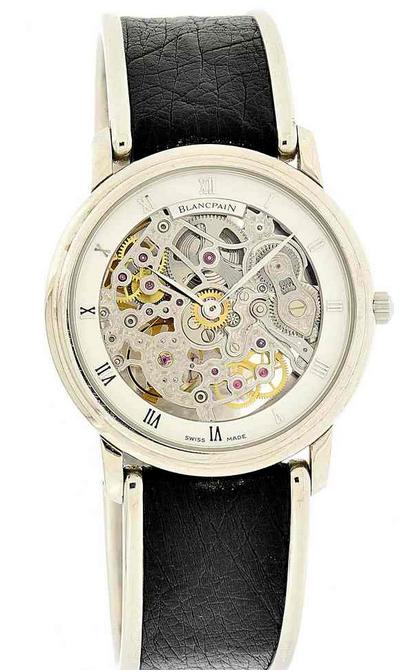 BLANCPAIN - Skelett-Armbanduhr aus Platin, offenes Federhaus, Genf Ende 1990er Jahre Schätzpreis: 14.000-20.000 CHF