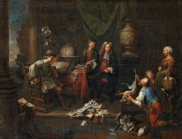 Balthasar van den Bossche (1681 Antwerpen - 1751 Antwerpen), Advokaten, olja, signerad och daterad, 1706. 50 x 65 cm.