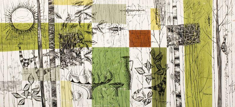 René FUMERON (né en 1921) Grand panneau décoratif polychrome avec branchages, volatiles et une nature morte. Signé en bas à droite Circa 1958