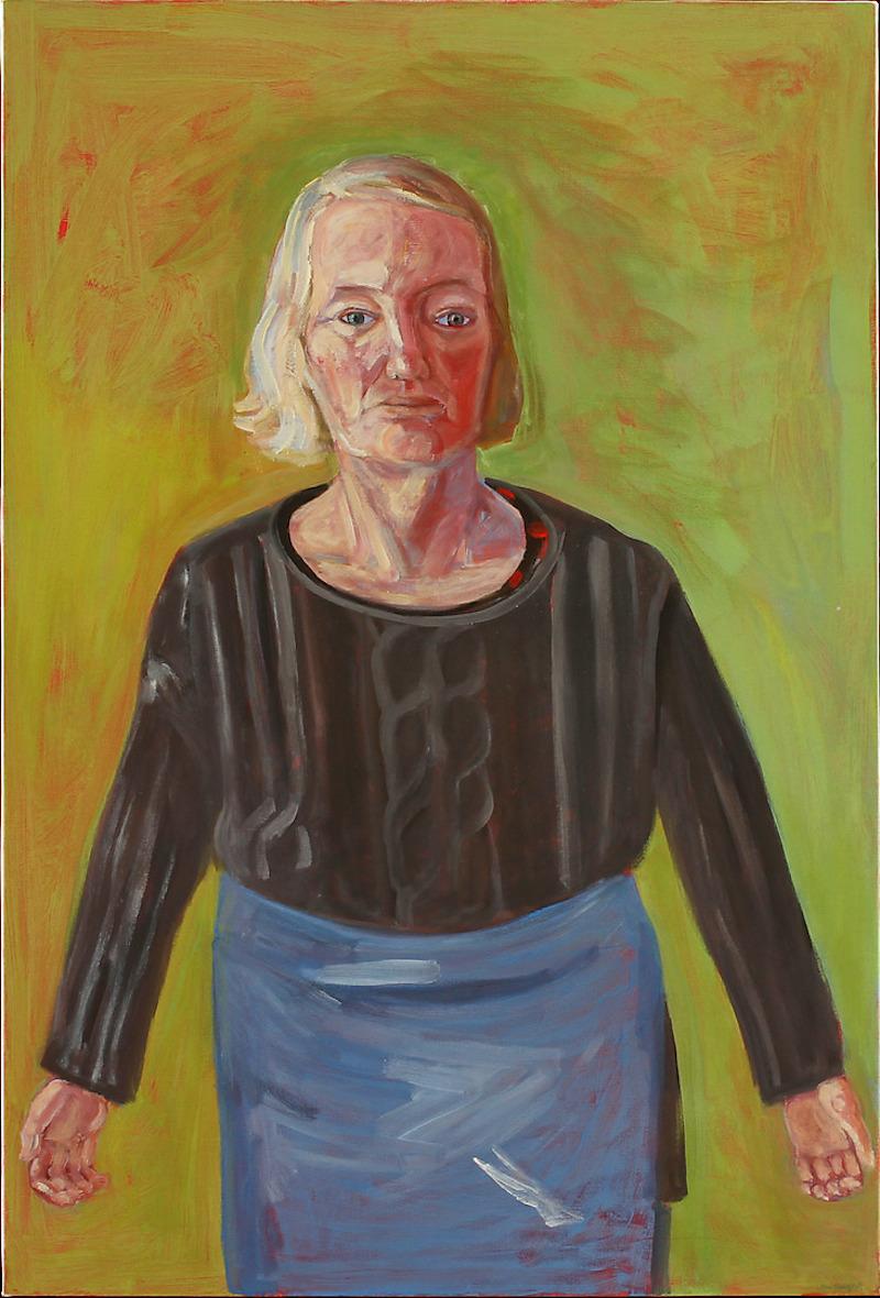"""LENA CRONQVIST (F.1938). """"Självporträtt i grönt"""" 2004. Olja och tempera på duk."""
