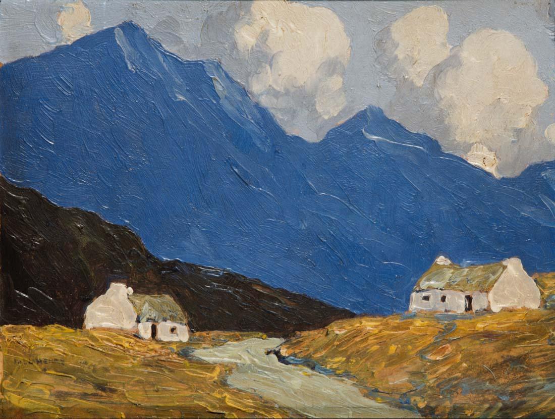 Paul Henry RHA, 1876-1958, Cottages in the West, Schätzpreis €20000 - €30000  Öl auf Panel, 19 x 25.5cm,  signiert, Lot 12