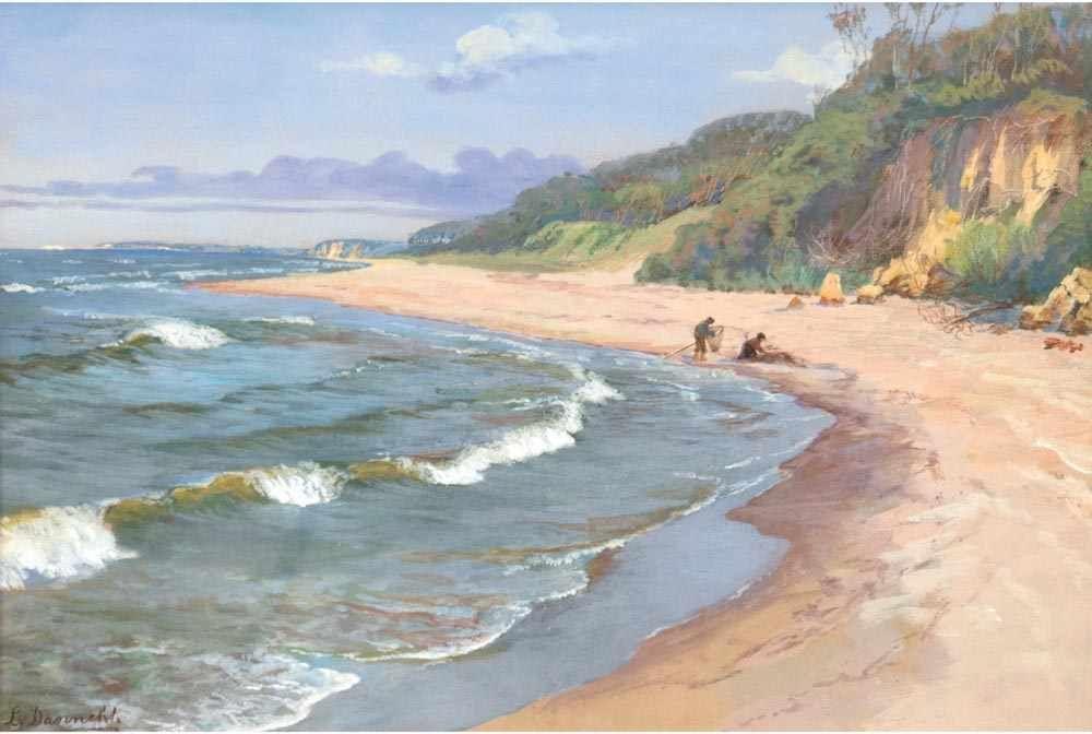 """LOUISE DANNEHL (1864 - ?) - """"Steilküste auf Rügen"""", Aquarell, signiert"""
