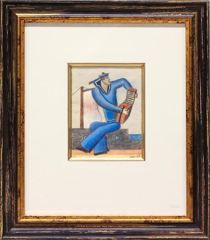 ESAIAS THORÉN (1901-1981) Sjöman med dragspel. Pastell och blyerts. 17,5 x 13,5 cm. Signerad och daterad ETh. Paris 29. Följerätt. Utrop:30 000 SEK.