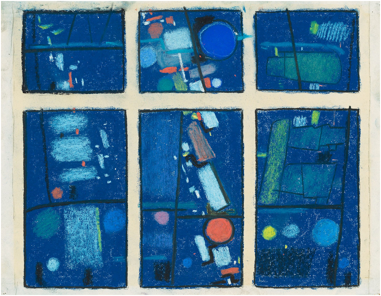 """MAX ACKERMANN (1887 Berlin - 1975 Bad Liebenzell) - """"Glasfensterentwurf I"""", pastell på papper, monterad på papp. 28,2 x 36,5 cm, namngiven, signerad och daterad, 1958. Utropspris: 18 000 - 28 000 kronor."""
