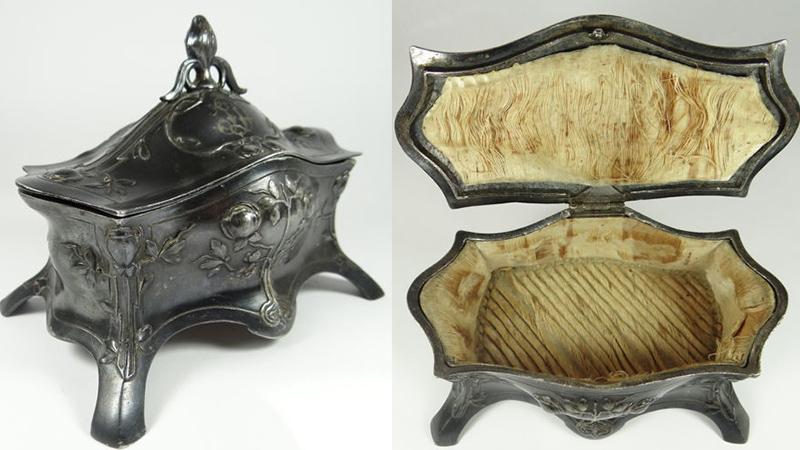 新藝術運動(Art Nouveau)的鍍銀珠寶盒, 1900早期德國, WMF的印記 有德國餐具製造商WMF的標誌,在1900年時期已經是世界上廣為人知的金屬器製造商。