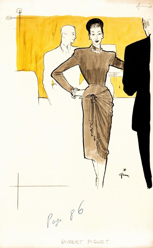 RENÉ GRUAU (RENATO ZAVAGLI) - Modezeichnung für Robert Piguet, Tinte, Guache, Tempera auf dünnem Karton, signiert, 1940er Jahre Schätzpreis: 6.000-12.000 EUR