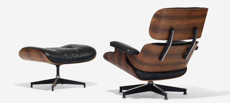 CHARLES AND RAY EAMES. 670 Lounge chair and 671 Ottoman. Herman Miller, USA 1956. Low estimate: $ 3.000
