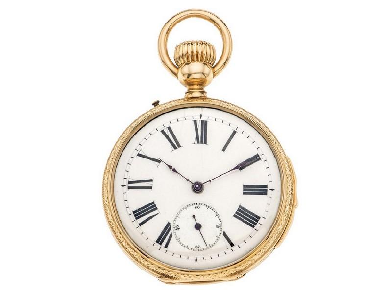 Reloj de bolsillo en oro amarillo de ADOLFO DUCOMMUN con botón para sonería