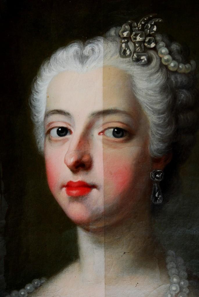 Gemälde des 18. JAhhrudnerts aus Schweden im teilweise restaurierten Zustand (Restaurierung: Ateljé Catellani). Vergleichen Sie den linken Teil, der bereits gereinigt wurde, mit dem rechten, ungereinigten Teil.   Foto: Ateljé Catellani