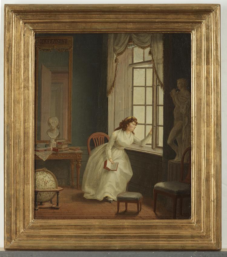 Ett fruentimmer som vid sin Lectur ser ut genom fönstret. Olja på duk. 41 x 49,5 cm. Privat ägo.