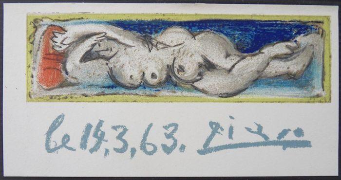 Pablo Picasso Petit nu, litografi från år 1964. Litografin är signerad och tryckt på kalksten. Just det här motivet är baserat på en av Picassos tidigare goucher.