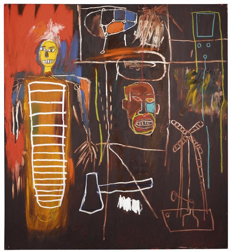 """Ett av toppnumrena på auktionen är glödheta Jean-Michel Basquiats målning """"Air Power"""" med ett utrop på 2,5-3,5 miljoner pund vilket motsvarar 28-40 miljoner kronor"""