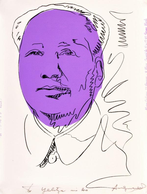 """Ovanlig utställningsposter. Andy Warhol """"Mao"""". Signerad och dedigerad. Utrop: $20000 - 30000"""