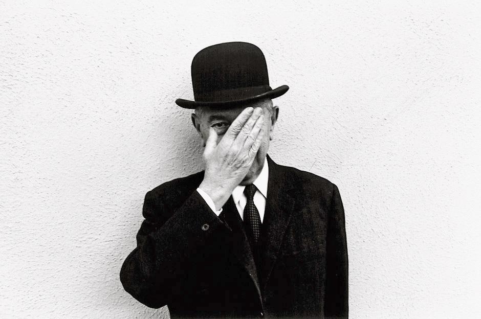 René Magritte photographed by Duane Michals, 1965