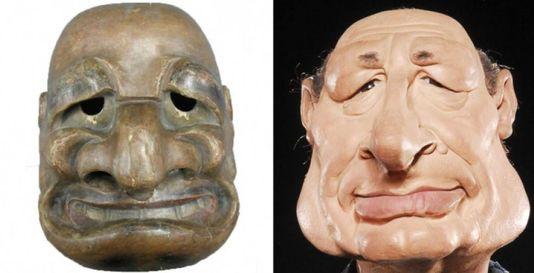 A gauche, le masque de théâtre japonais conservé au Musée Georges-Labit de Toulouse, à droite, la marionnette de Jacques Chirac aux « Guignols de l'info », sur Canal+ Image via lemonde.fr