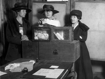 Three women's suffragists casting votes in New York City, ca. 1917Image courtesy Everett Historical