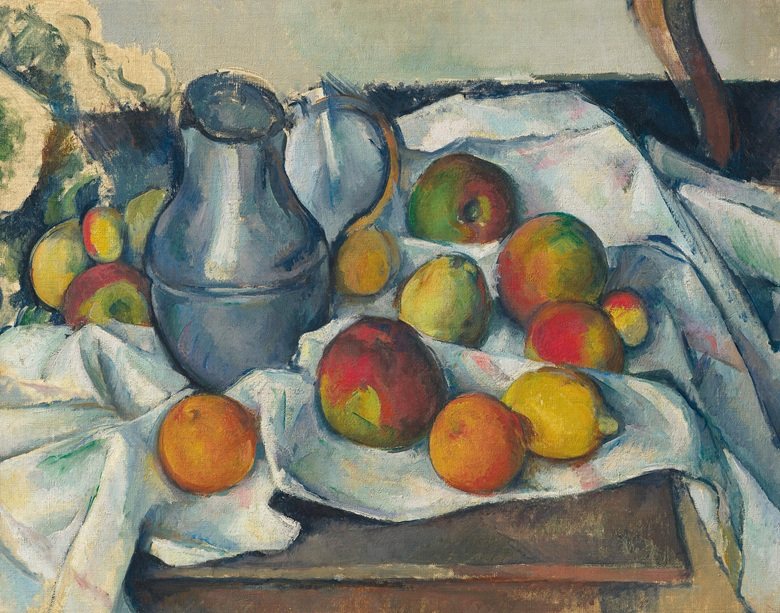 Paul Cezanne (1839-1906), Bouilloire et fruits, 1888-1890. Oil on canvas. Image: Christie's
