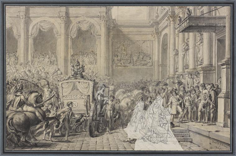 Jacques-Louis David, Arrivée de Napoléon Ier à l'Hôtel de Ville, 1805, dessin à la plume sur papier., image © RMN-Grand Palais (musée du Louvre) / Stéphane Maréchalle