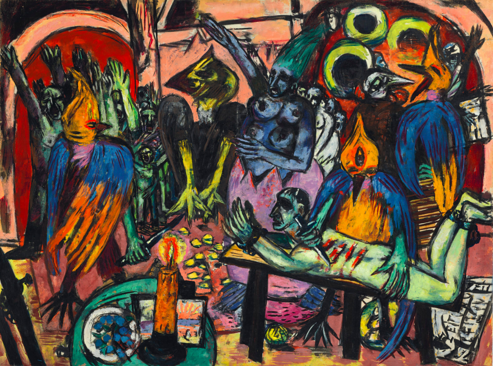 Max Beckmann (1884-1950), Hölle der Vögel, 1937-38. Oil on canvas. 47⅛ × 63 in (119.7 × 160.4 cm). Sold for £36,005,000 in the Impressionist and Modern Art Evening Sale on 27 June at Christie's London © DACS 2017