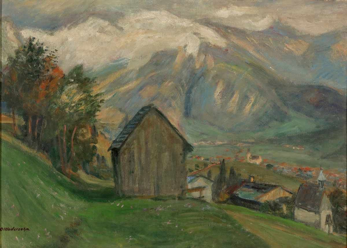 "Otto Modersohn (1865 Soest - 1943 Rotenburg), ""Sonniger Mittag"" (Blick vom Gailenberg), Öl/Lwd./Karton, Stempelsignatur | Foto: Kastern"