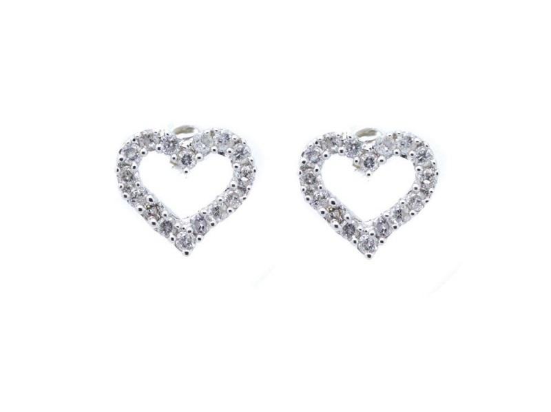 Pendientes diseño corazón en oro blanco con brillantes engastados