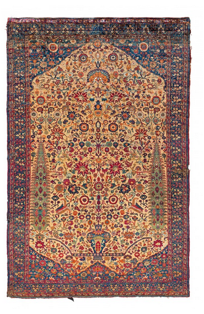 Gaschgai, Seide, 175 x 116 cm, Persien, möglicherweise datiert 1125 ah / 1713 ad Schätzpreis: 40.000 - 60.000 EUR